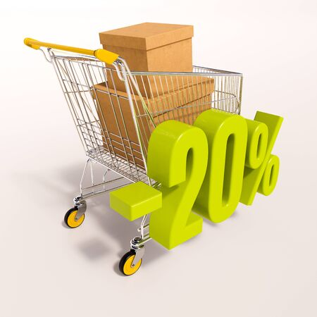 20: 3d render: shopping cart and green 20 percentage discount sign on white, sale 20% Stock Photo