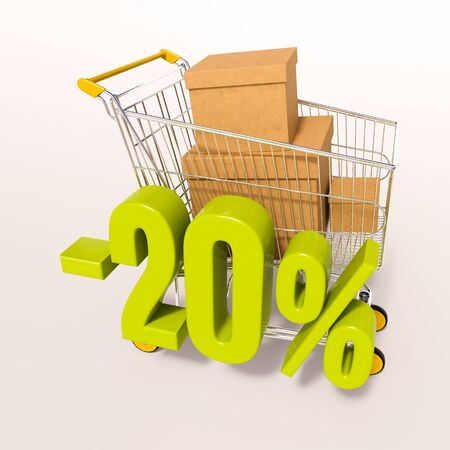 super market: 3d render: shopping cart and green 20 percentage discount sign on white, sale 20% Stock Photo