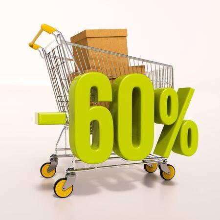 carretilla de mano: 3d: carrito de la compra y el verde muestra del descuento del 60 porcentaje en blanco Foto de archivo