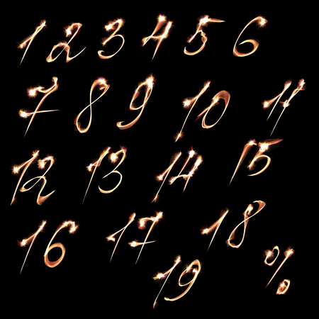 electric spark: Set of fire burning arabic numbers