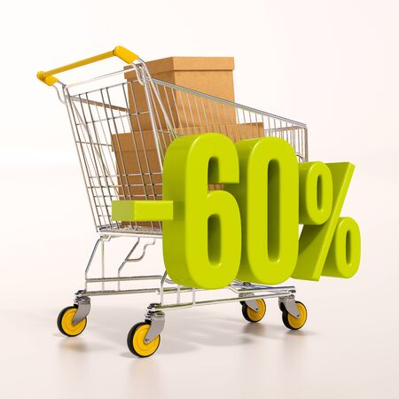 3d render: shopping cart and green 60 percentage discount sign on white Stock Photo