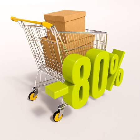 per: 3d render: shopping cart and green 80 percentage discount sign on white