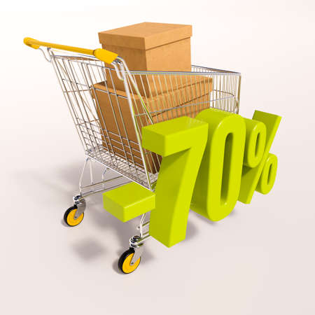super market: 3d render: shopping cart and green 70 percentage discount sign on white Stock Photo