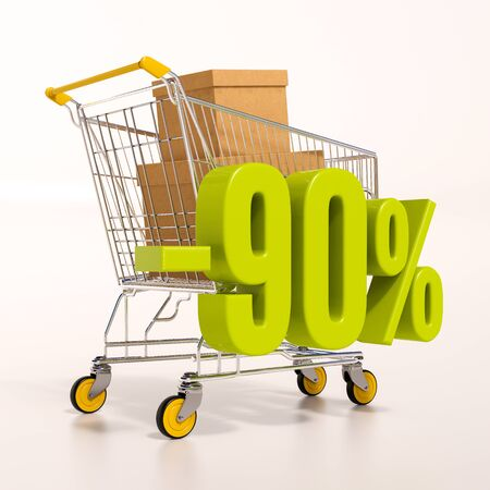 per cent: 3d render: shopping cart and green 90 percentage discount sign on white Stock Photo