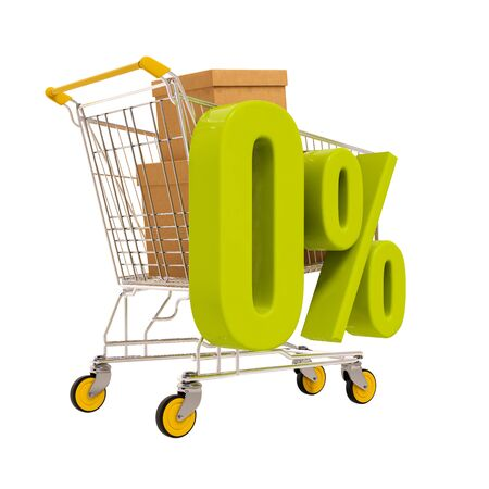 per: 3d render: shopping cart and green 0 percentage sign isolated on white Stock Photo