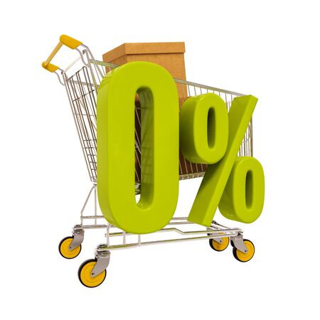 percentage sign: 3d render: shopping cart and green 0 percentage sign isolated on white Stock Photo