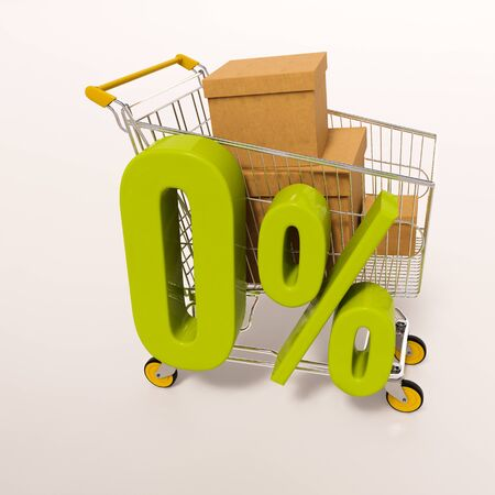 percentage sign: 3d render: shopping cart and green 0 percentage sign on white Stock Photo