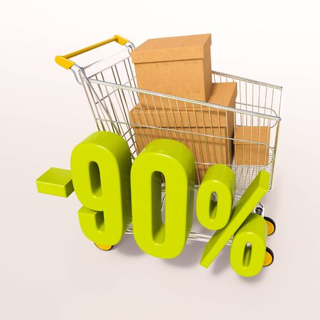 per: 3d render: shopping cart and green 90 percentage discount sign on white Stock Photo