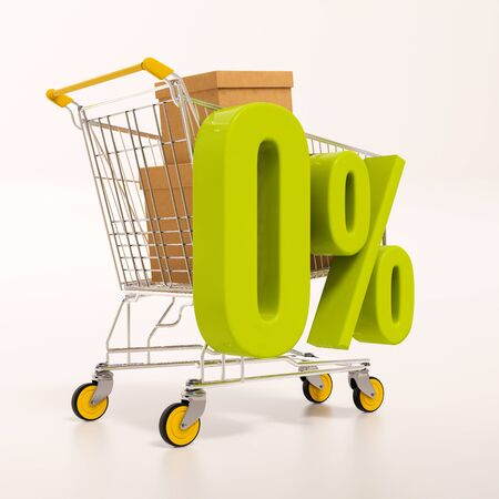 super market: 3d render: shopping cart and green 0 percentage sign on white Stock Photo
