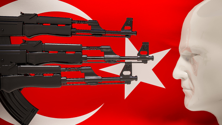 attempted: 3d ender: automatic rifles aimed at the man on a background of Turkish flag