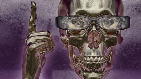 angel cemetery: Skull illustration  a mark of the danger warning  T-shirt graphics Stock Photo