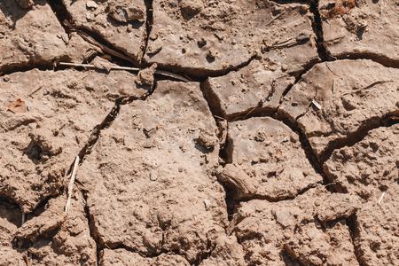 flaw: Cracks in the dried soil in arid season  Desertification Stock Photo