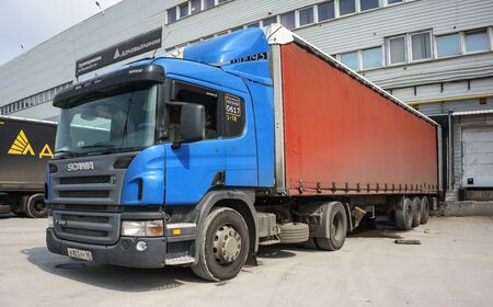 18 wheeler: RUSSIA, YEKATERINBURG - JULY 24, 2016: Truck loading at the cargo terminal of Ekaterinburg