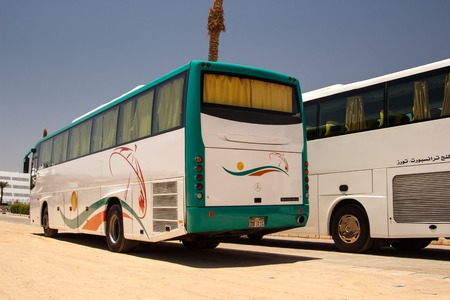 sinai peninsula: EGYPT, SHARM EL SHEIKH - JULY 20, 2015: Sharm el-Sheikh is holiday resort and significant centre for tourism in Egypt. Big tourist buses on parking.