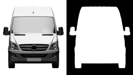 3d render: front view of generic white courier service delivery van