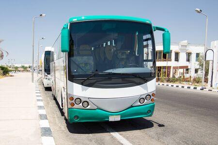 buss: Big tourist bus on parking Stock Photo