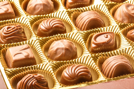 pralines: Closeup Of Variety Chocolate Pralines, Close Up Shot Of Chocolates Box, Assorted Box Chocolate, Box Of Chocolates With Many Variations, Bon Appetit, Sweet, Fresh And Tasty, Delicious, Yum-Yum, Yammy