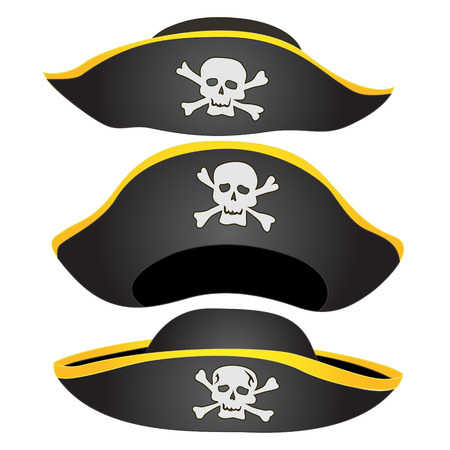 costume eye patch: Set of Pirate Hat Isolated, Pirate Fancy Dress Hat with Jolly Roger Illustration