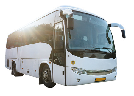 Modern White Passenger Bus on the White Background, City Tourist Bus Transportation Vehicle,  Public Road Urban Travel Passenger Commercial City Bus. Modern and Comfortable Coach,  Traveling by Bus