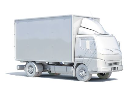 panel van: 3d render: 3d White Delivery Truck Icon, Transporting Service, Freight Transportation, Packages Shipment, International Logistics, 3d Postal Truck, 3d Home Delivery Sign Stock Photo