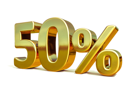 3d render: Gold 50 Percent Off Discount Sign, Sale Banner Template, Special Offer 50% Off Discount Tag, Fifty Percentages Up Sticker, Gold Sale Symbol, Gold Sticker, Banner, Advertising, Gold Sale 50%