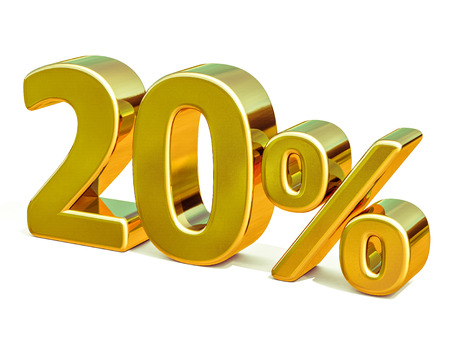 3d render: Gold 20 Percent Off Discount Sign, Sale Banner Template, Special Offer 20% Off Discount Tag, Twenty Percentages Up Sticker, Gold Sale Symbol, Gold Sticker, Banner, Advertising, Gold Sale 20% Stock fotó