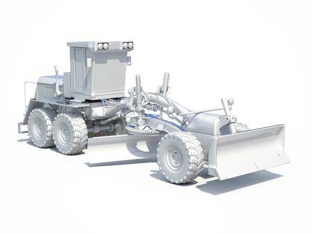 earthwork: 3d render: White Motor Grader Road Construction Industrial Machine