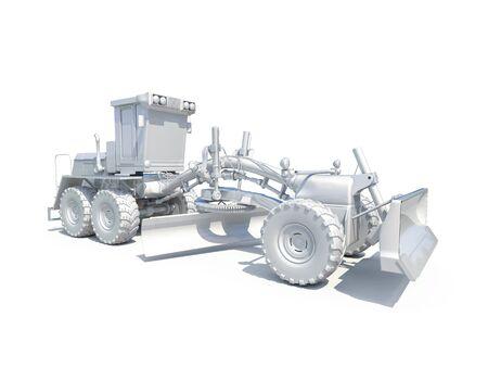grader: 3d render: White Motor Grader Road Construction Industrial Machine
