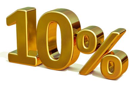 Goud 10 procent korting korting teken, verkoop sjabloon voor spandoek, speciale aanbieding 10% korting korting Tag, tien percentages omhoog Sticker, gouden verkoop symbool, gouden sticker, Banner, reclame, gouden verkoop 10%
