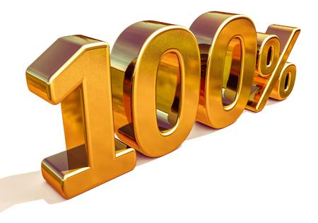 Vendita d'oro al 100%, sconto percentuale d'oro fuori segno, Promo vendita, offerta speciale sconto del 100% Tag, segno di cento centesimi d'oro, 100% d'oro, vendita totale d'oro, lusso, vendita totale, gratuito 100%