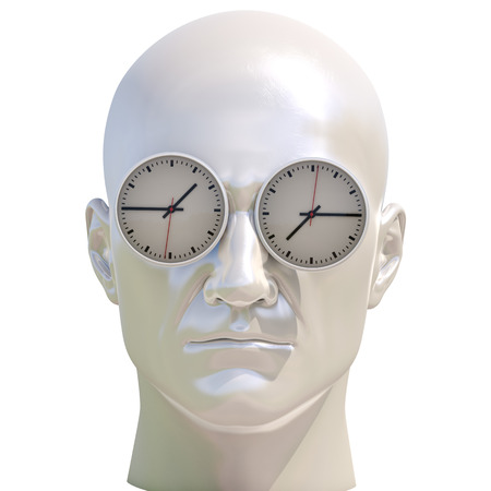 Time Concept 3D Illustration: Human Head  and Time, Business Punctuality, Appointment Stress, Deadline Pressure, Overtime, Time is Running Up, Timing, Punctual Schedule, Management, Countdown Concept