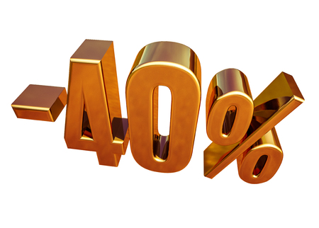 Gold Sale -40%, Gold Percent Off Discount Sign, Sale Banner Template, Special Offer -40% Off Discount Tag, Minus Forty Percent Sticker, Gold Sale Symbol, Gold Sticker, Banner, Advertising, Luxury Sale Stock Photo