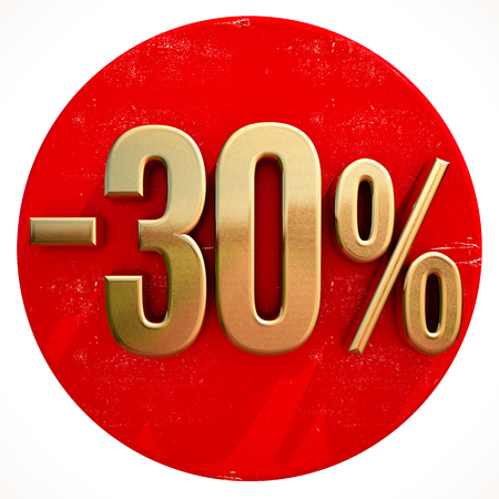 Gold 30 Percent Sign on Shabby Red Circle with Shadow, 30% Off Hot Deal and Save Money Sign, Special Offer Banner, Price Tag, -30% Black Friday Sale 30% Discount Stok Fotoğraf