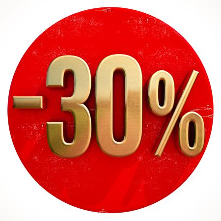 Gouden 30 procent teken op Shabby rode cirkel met schaduw, 30% korting op warme deal en bespaar geldteken, speciale aanbieding banner, prijskaartje, -30% Black Friday-verkoop 30% korting