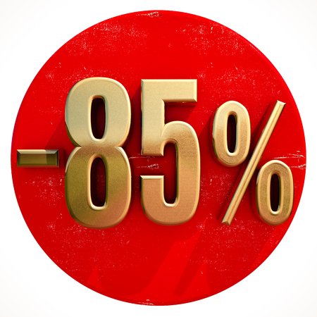 pricing: Gold 85 Percent Sign on Shabby Red Circle with Shadow, 85% Off Hot Deal and Save Money Sign, Special Offer Banner, Price Tag, -85% Black Friday Sale 85% Discount