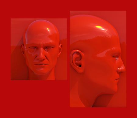 Realistische 3d menselijke hoofden op verschillende felgekleurde achtergronden, Mannequin Dummy Head, Pop Art Heads, Pop Art Poster