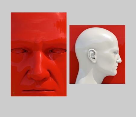 Realistic 3d Human Heads on Different Brightly Colored Backgrounds, Mannequin Dummy Head, Pop Art Heads, Pop Art Poster