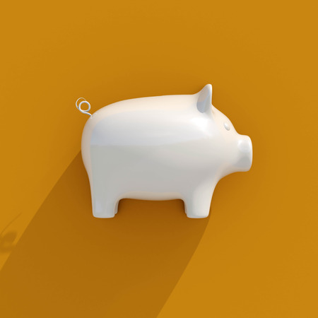 3d White Piggy Coin Bank on Orange Background for Money Savings, Financial Security or Personal Funds Concept, Finance Icons, Business, Accounting, Investment, Finance Background Stock Photo