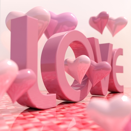 Realistic Love Sign with Hearts, 3d Love Lettering Greeting Card, Valentines Day Background, Festive Banner and Poster, Passion Celebration Pink Texture, Wedding Invitation, Marriage Background