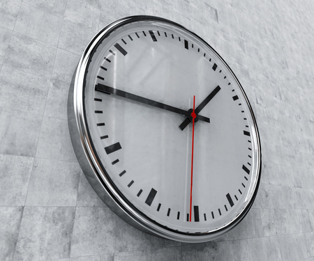 trustworthy: Close Up of Realistic Office Clock on Concrete Wall with Black anf Red Hands, Classic Clock Face with Focus on Center, Round Clock Hanging on the Wall, Time Abstract, Timing Concept, Clock Background