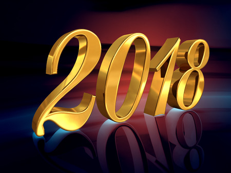 Gold 2018 Celebration Number, Golden 3D Numbers on a Festive Background, 2018 Happy New Year or Christmas Background Creative Greeting Card Design, for Flyers, Invitation, Posters, Brochure, Banners