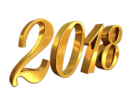Gold 2018 Celebration Number, Golden 3D Numbers on a White Background, 2018 Happy New Year or Christmas Background Creative Greeting Card Design, for Flyers, Invitation, Posters, Brochure, Banners Banque d'images