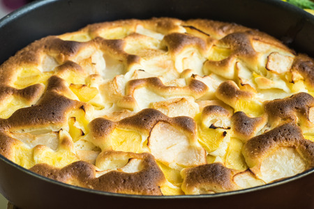 Homemade Gourmet Traditional Holiday Organic Apple Pie Dessert Ready to Eat, Delicious Fresh Baked Rustic Apple Pie, French Apple Pie Tart, Ingredients - Apples and Cinnamon, Caramelized Apple Tart