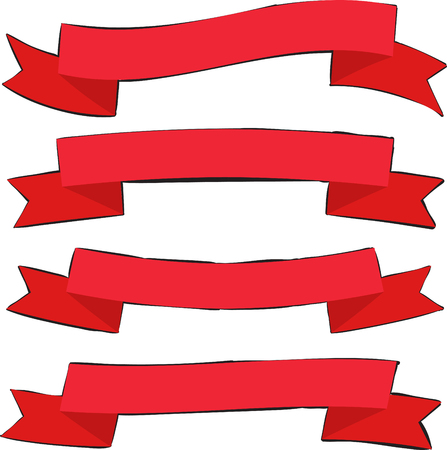 christmas backdrop: Retro Flat Ribbon Red Decorative Banners with Contour Vector Collection On White Background