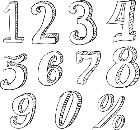 numbers: Hand Drawn Vector Doodle Set with Numbers. Isolated on White Background Illustration