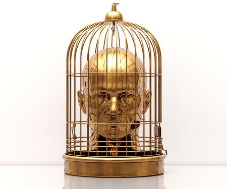 Homme avec une cage sur sa tête, libre, liberté, homme pris au piège, prisonnier en cage, vol d'employé, homme en cage, fond de mariage, discipline de l'entreprise, jeu terminé, homme stressé, potentiel de déblocage Banque d'images - 87152742