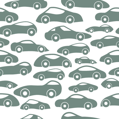 Hand Drawn Doodle Cartoon Seamless Pattern with Little Cars, Traffic Jam.