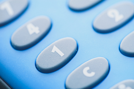 Close up Detail of a Calculator Keyboard,  Selective Focus on the Numbers on Keyboard