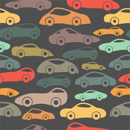Hand Drawn Doodle Cartoon Seamless Pattern with Little Cars, Traffic Jam, Cars Drawing Seamless Vector Wallpaper, Fun Pattern Background Stok Fotoğraf - 87567386