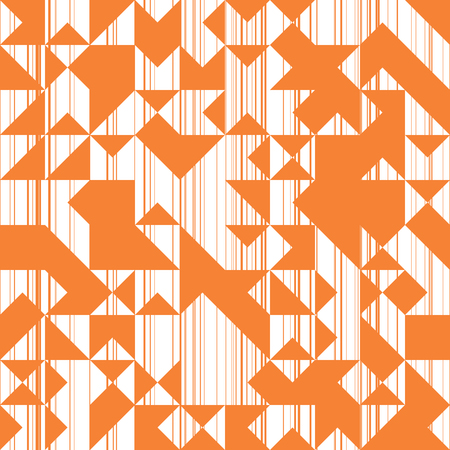 multiplicar: Modern Style Abstraction with Composition Made of Various Triangles and Lines, Fashion Orange Background of Geometric Shapes, Sun Trendy Mosaic Pattern Vectores